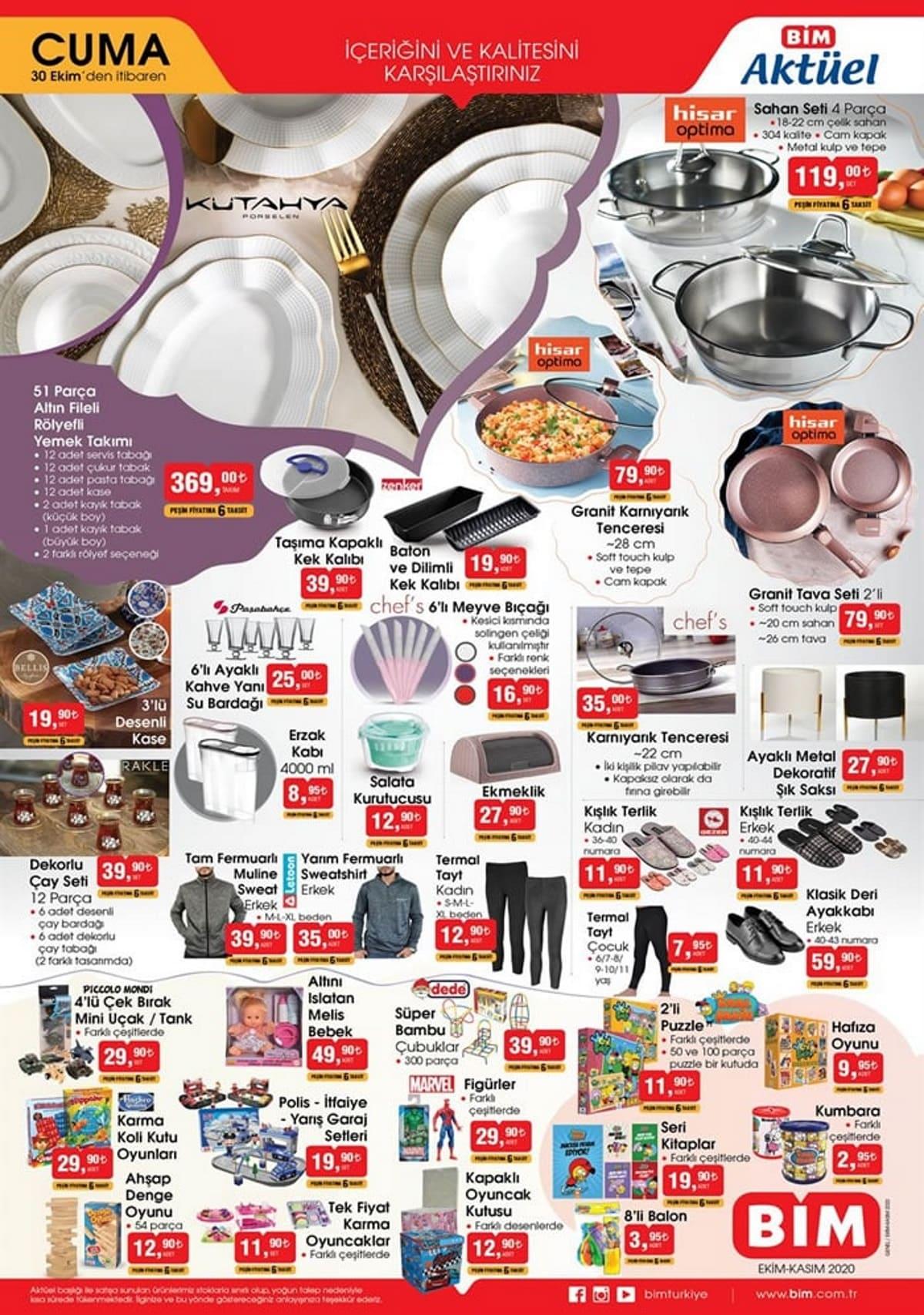 Bim 30 Ekim Yeni Ürünler Katalogu